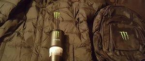 Monster Coat, Monster elite bookbag, Monster Mug